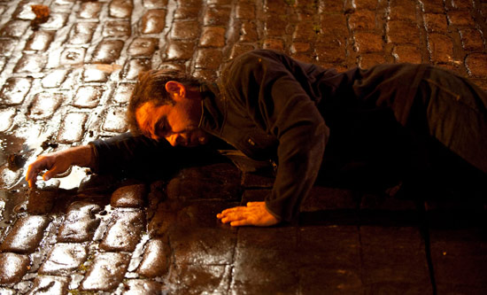 Kevin Webster (Michael Le Vell) after being knocked to the ground by the explosion.