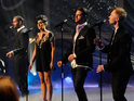 Click in for pictures of Kym Marsh singing with Boyzone for a Coronation Street special.