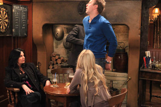 Emmerdale - Nick Henshall (Michael McKell) steps in as Carl King (Tom Lister) lashes out at Chas Dingle (Lucy Pargeter)