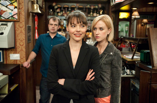 Becky is furious with Steve when she sees Tracy working behind the bar