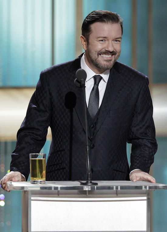 Ricky Gervais (with lager!) oversaw the ceremony for the second year running.