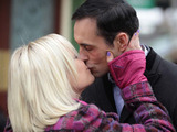 As they leave the Vic, Michael and Roxy kiss.