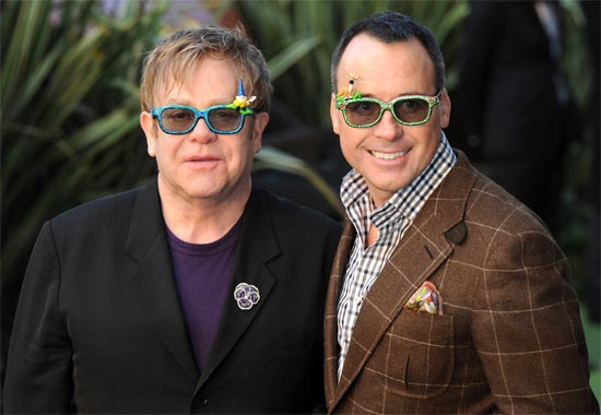 Sir Elton John and David Furnish at the London premiere of 'Gnomeo & Juliet' in Leicester Sqaure