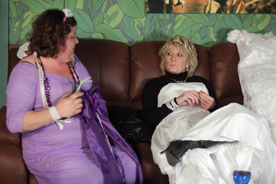Shirley Carter (Linda Henry) and Heather Trott (Cheryl Fergison)