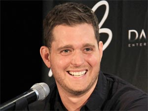 Singer Michael Buble holding a press conference in Sydney to promote his 'Crazy Love' Australian tour