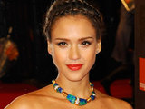 Jessica Alba arriving at the Orange British Academy Film Awards in London