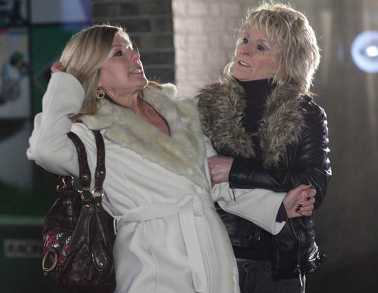 Shirley Carter (Linda Henry) and Glenda Mitchell (Glynis Barber)