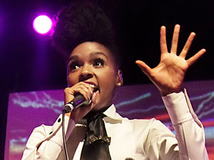 Janelle Monae performing at the Manchester Academy