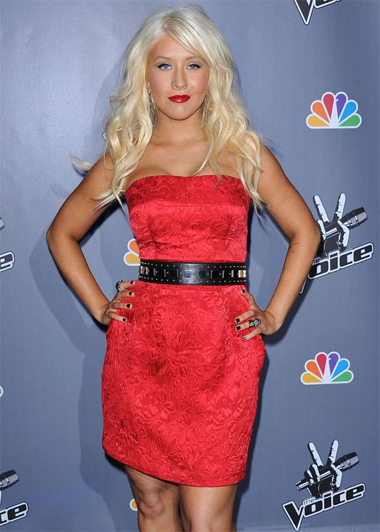 Christina Aguilera attending the NBC press junket for reality singing competition 'The Voice' in Los Angeles, California