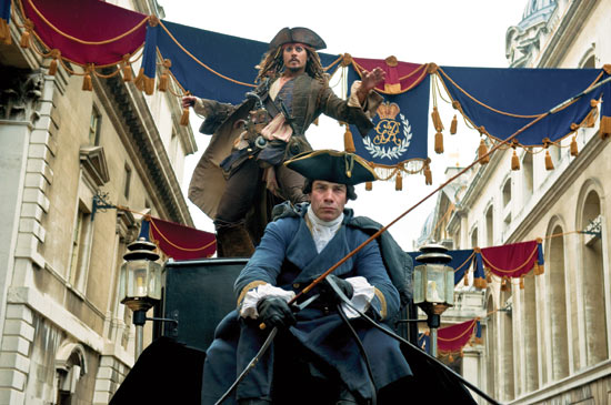 Captain Jack weaves through the streets of London