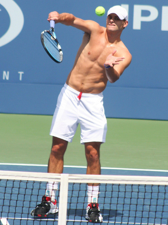 Andy taking a serve
