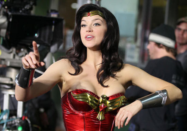 Adrianne Palicki filming the Wonder Woman pilot