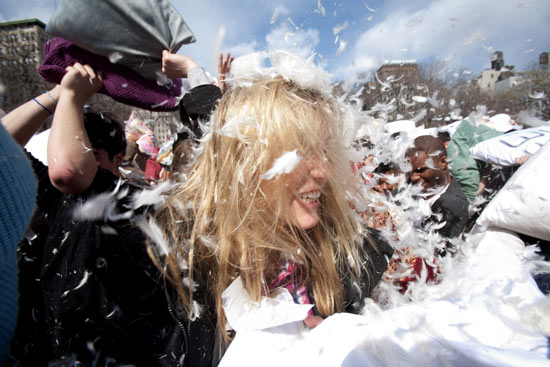 Pillow fight in Union Square, New York