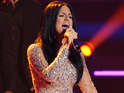 Pia Toscano performs her debut single for the first time on the American Idol tour.