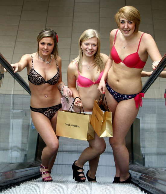 Lakeside shoppers in their underwear