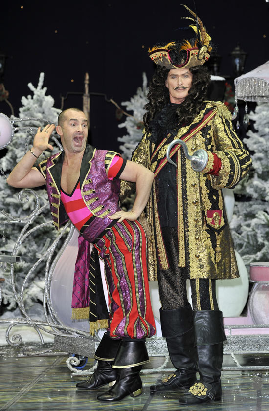 Louie Spence and David Hasselhoff in panto