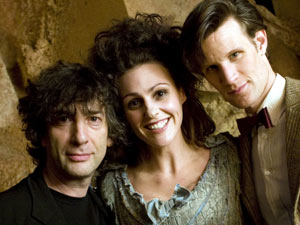 Neil Gaiman, Suranne Jones and Matt Smith filming Doctor Who