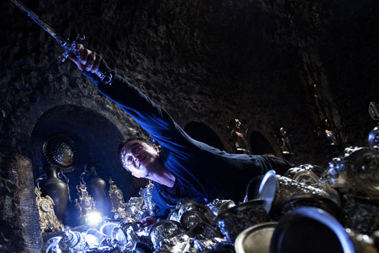 Daniel Radcliffe mid-stretch in a scene from 'Deathly Hallows: Part 2'.