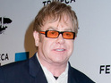 Sir Elton John performs 'Blue Eyes' at Elizabeth Taylor's memorial service.