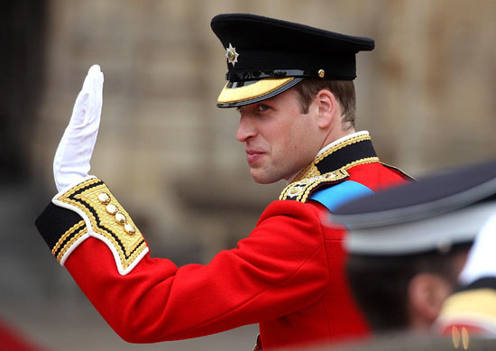 Prince William waving to crowds