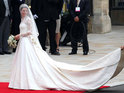 "Stars including Emma Bunton and Coleen Rooney describe Kate Middleton's wedding dress as ""beautiful""."