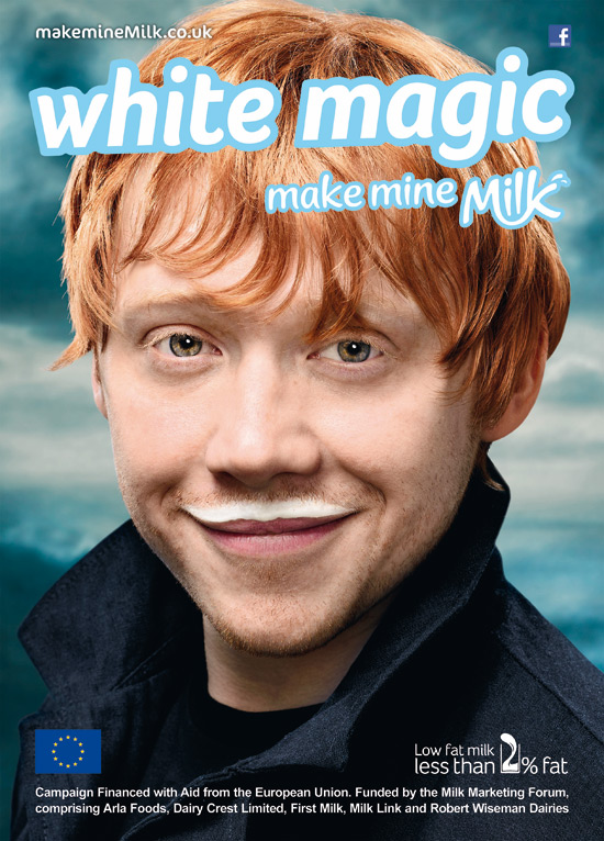 Rupert Grint in the 'Make mine Milk' campaign