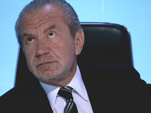 Lord Alan Sugar in The Apprentice boardroom