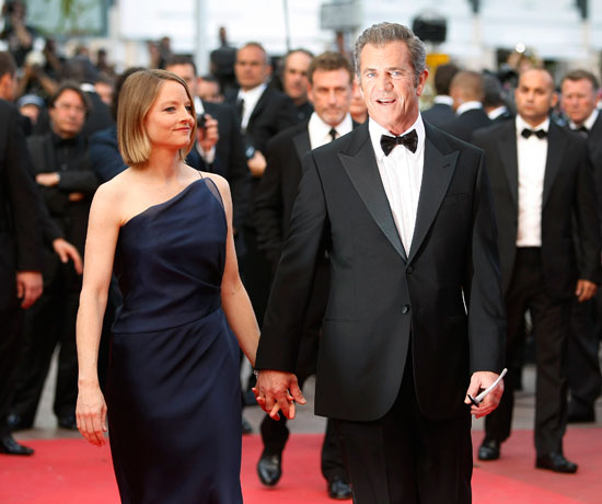 Mel Gibson and Jodie Foster arrive for the Cannes premiere