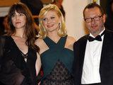 Charlotte Gainsbourg, Kirsten Dunsta nd Lars Von Trier as the 'Melancholia' premiere