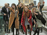 Zombies frightening commuters on the Millennium Bridge. 