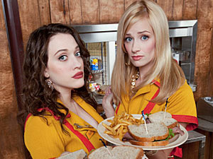 Max (Kat Dennings) and Caroline (Beth Behrs) from &#39;2 Broke Girls&#39;