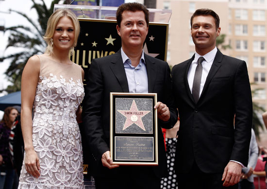 Carrie Underwood, Simon Fuller and Ryan Seacrest