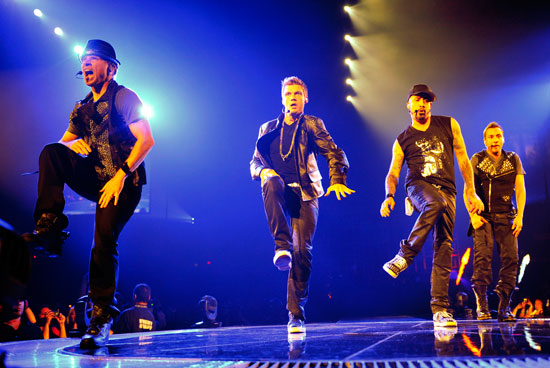 Backstreet Boys performing live in concert on the NKOTBSB Tour in Illinois