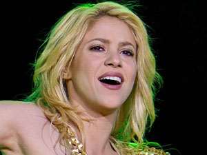 Shakira performing live at Olimpiisky Arena in Russia