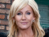 Stella Price outside the Rovers in Coronation Street
