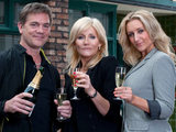 Stella, Karl and Eva outside the Rovers in Coronation Street