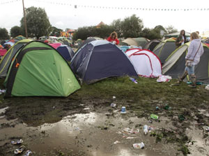 Muddy tents at a festival