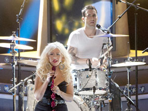 The Voice judges Christina Aguilera and Adam Levine performing