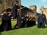 Neville Longbottom (Matthew Lewis) struggles to control his broom at Quidditch practice
