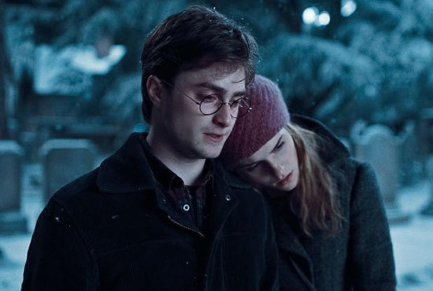 Harry offers Hermione a shoulder to lean on during 2010's Harry Potter and the Deathly Hallows: Part 1.