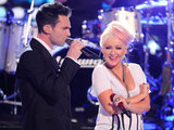 Adam Levine and Christina Aguilera performing on 'The Voice'