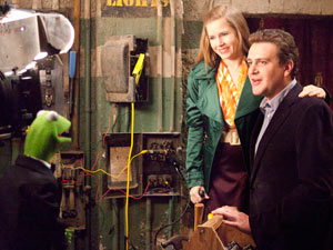 Kermit the Frog, Amy Adams and Jason Segel in 'The Muppets'