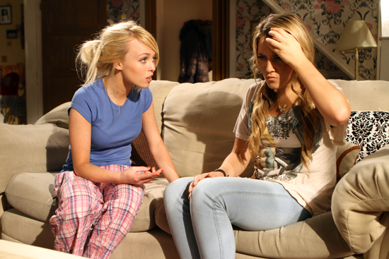 Liberty tells Theresa that they're both dating Ethan in Hollyoaks