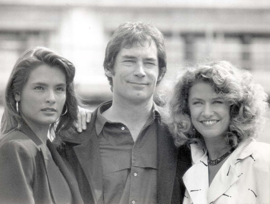 Talissa Soto, Timothy Dalton and Caroline Bliss