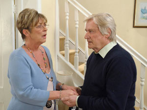 Deirdre comforts Ken who is still down about being attacked by James