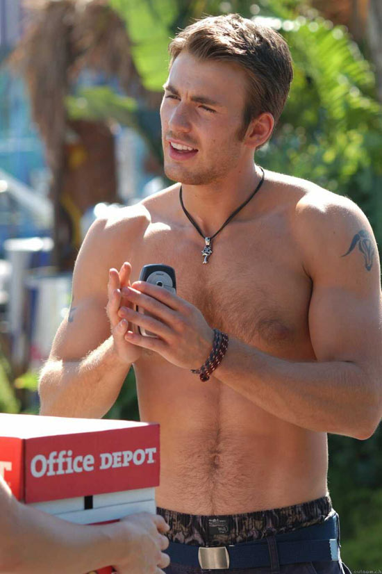 Chris shirtless