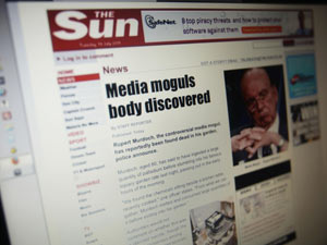 The Sun Website after being hacked by Lulzsec