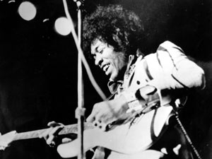 Jimi Hendrix - singer and songwriter for The Jimi Hendrix Experience and Band of Gypsys.