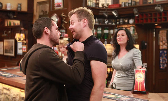 Aaron Livesy (Danny Miller) and Carl King (Tom Lister) clash