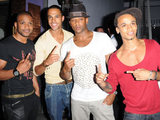 JLS visit The Collection restaurant to celebrate their single going to number one in the UK charts.